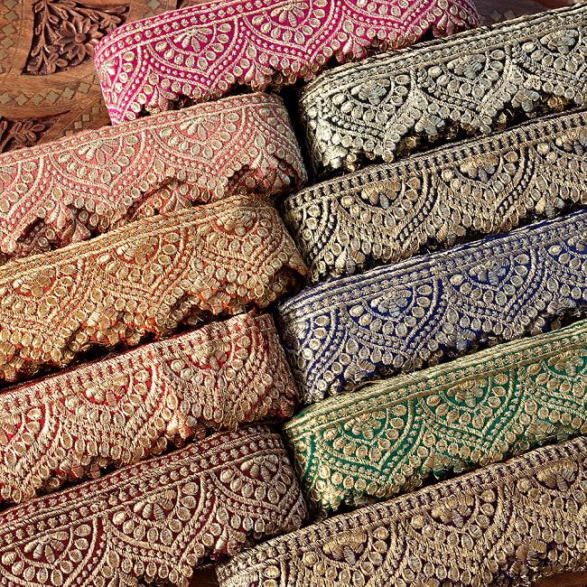 チロリアンテープ メーター売 - 金糸が美しい 更紗模様のゴータ刺繍  〔幅:約6.5cm〕 メヘンディ 寒色 15 - 暖色は、ID-CIROLTAPE-831にあります