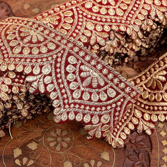 チロリアンテープ メーター売 - 金糸が美しい 更紗模様のゴータ刺繍  〔幅:約6.5cm〕 メヘンディ 寒色 2 - 拡大写真です