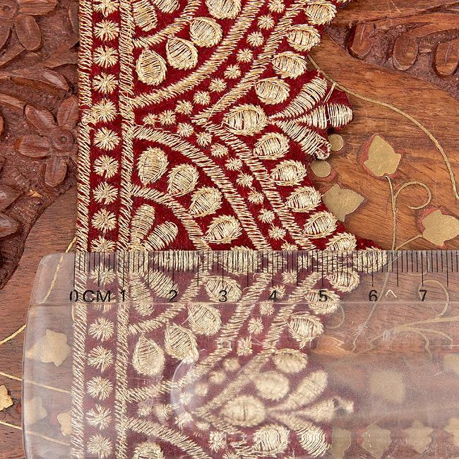 チロリアンテープ メーター売 - 金糸が美しい 更紗模様のゴータ刺繍  〔幅:約6.5cm〕 メヘンディ 寒色 7 - 横幅はこのくらい