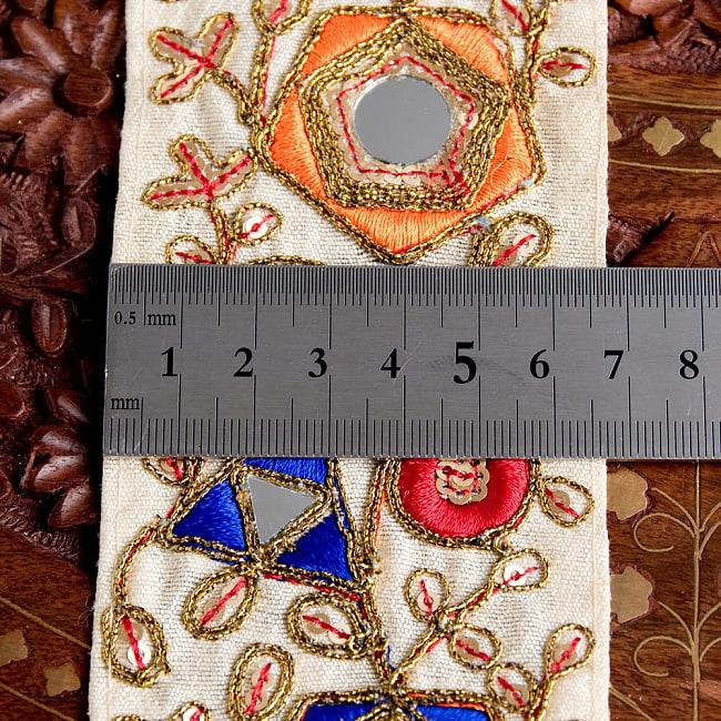 約9m チロリアンテープ ロール売  〔各色あり〕チロリアンテープ - 金糸が美しい ミラーワーク刺繍〔幅:約6.5cm〕 6 - 横幅はこのようになります。長さは、メートル単位の切り売りとなります。