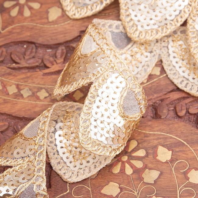 約9m チロリアンテープ ロール売 - 金糸が美しい 更紗模様のゴータ刺繍〔幅:約4cm〕 - 鱗 3 - 他にはないとても素敵な雰囲気