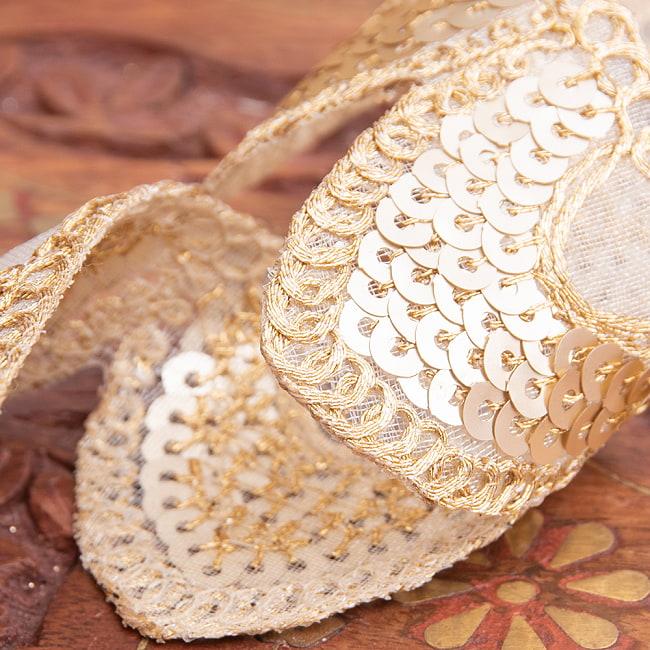 約9m チロリアンテープ ロール売 - 金糸が美しい 更紗模様のゴータ刺繍〔幅:約4cm〕 - 鱗 4 - 別の角度から