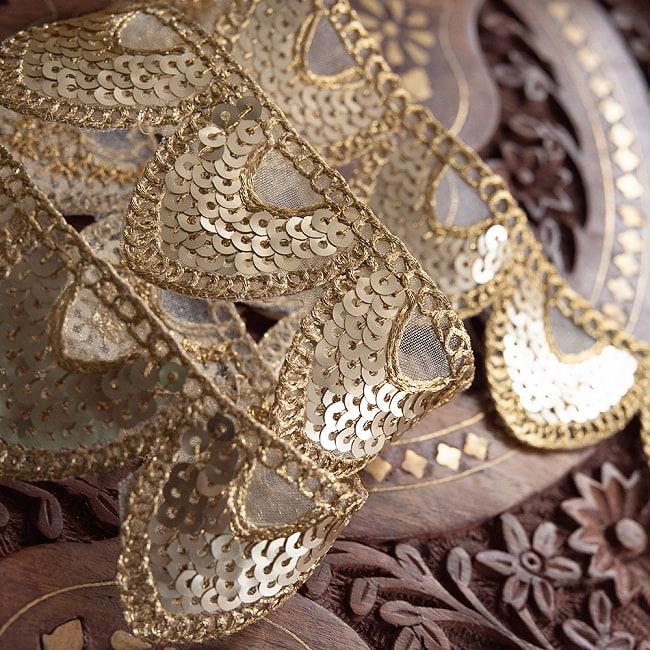 約9m チロリアンテープ ロール売 - 金糸が美しい 更紗模様のゴータ刺繍〔幅:約4cm〕 - 鱗 8 - 高級感があります