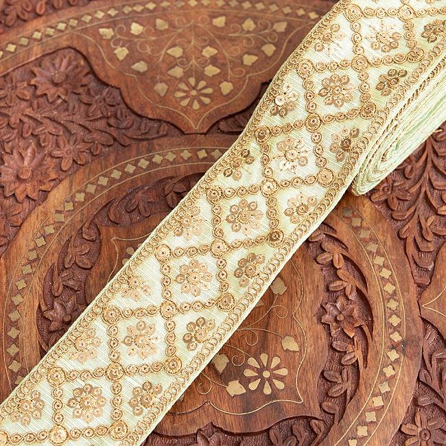 【全7色】約9m チロリアンテープ ロール売 - 金糸が美しい 更紗模様のゴータ刺繍〔幅:約5.8cm〕 - ハンデラバード 14 - 5:ミント