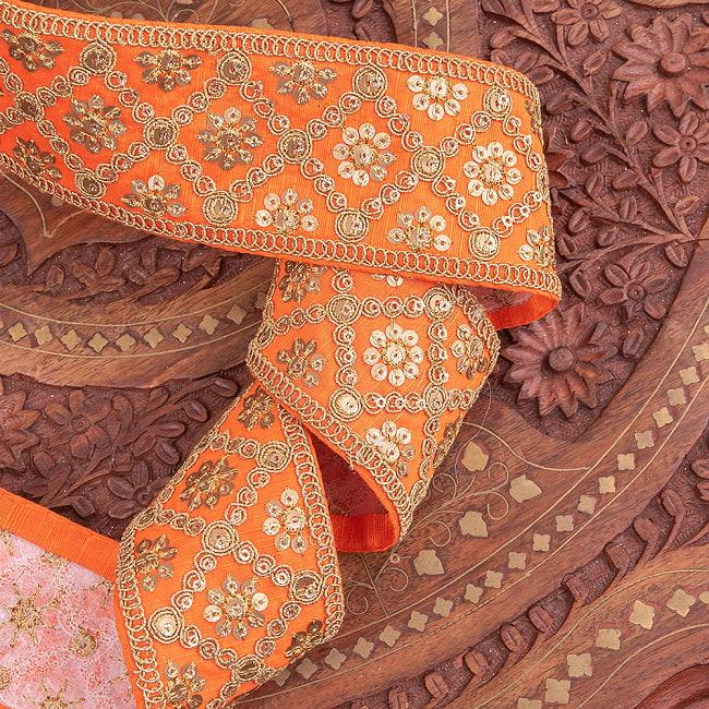 【全7色】約9m チロリアンテープ ロール売 - 金糸が美しい 更紗模様のゴータ刺繍〔幅:約5.8cm〕 - ハンデラバード 3 - 他にはないとても素敵な雰囲気