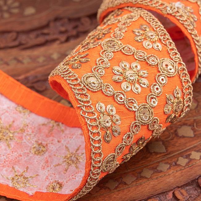 【全7色】約9m チロリアンテープ ロール売 - 金糸が美しい 更紗模様のゴータ刺繍〔幅:約5.8cm〕 - ハンデラバード 4 - 別の角度から