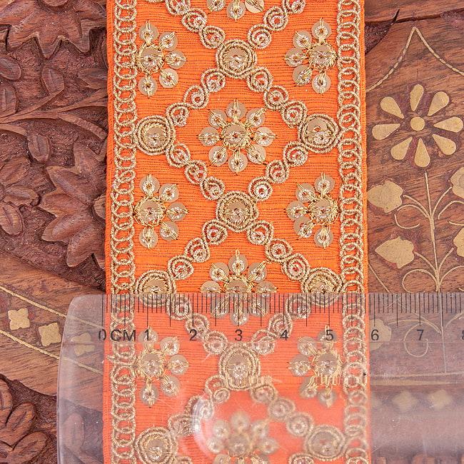 【全7色】約9m チロリアンテープ ロール売 - 金糸が美しい 更紗模様のゴータ刺繍〔幅:約5.8cm〕 - ハンデラバード 7 - 横幅はこのようになります