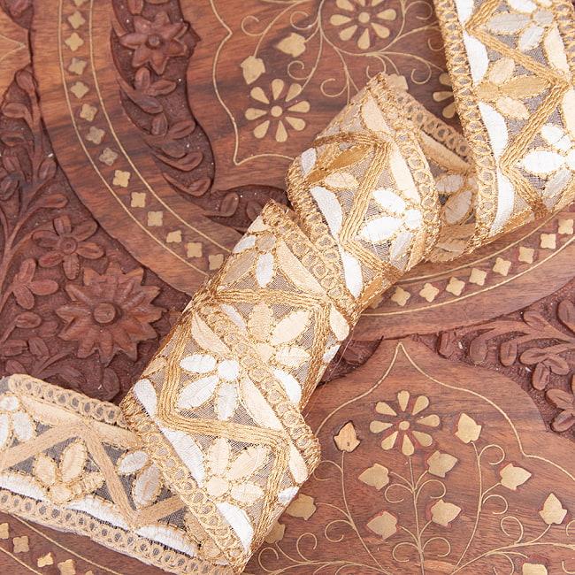 チロリアンテープ メーター売 - 金糸が美しい 更紗模様のゴータ刺繍  〔幅:約4cm〕 - みつ葉 3 - 他にはないとても素敵な雰囲気