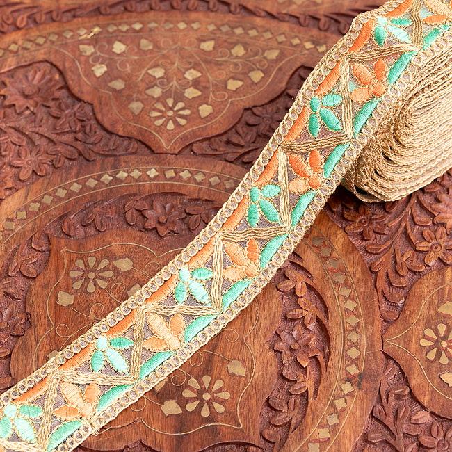 チロリアンテープ メーター売 - 金糸が美しい 更紗模様のゴータ刺繍  〔幅:約4cm〕 - みつ葉 9 - 2:パステル