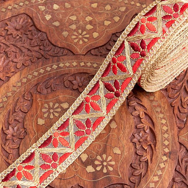 約9m チロリアンテープ ロール売 - 金糸が美しい 更紗模様のゴータ刺繍  〔幅:約4cm〕 - みつ葉 11 - 4:赤