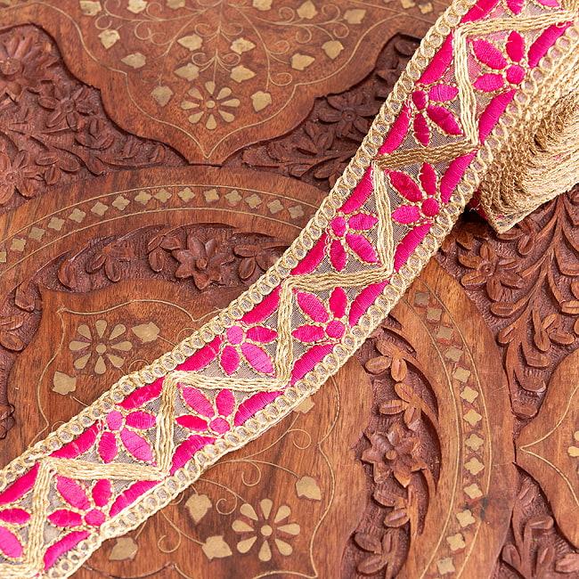 約9m チロリアンテープ ロール売 - 金糸が美しい 更紗模様のゴータ刺繍  〔幅:約4cm〕 - みつ葉 12 - 5:ピンク