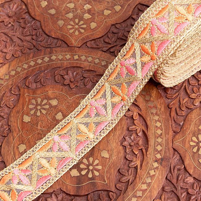 約9m チロリアンテープ ロール売 - 金糸が美しい 更紗模様のゴータ刺繍  〔幅:約4cm〕 - みつ葉 13 - 6:アプリコット