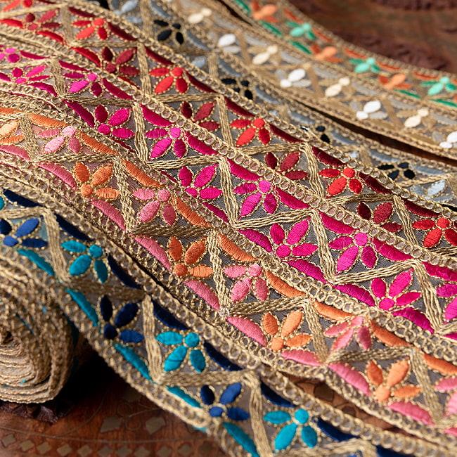 約9m チロリアンテープ ロール売 - 金糸が美しい 更紗模様のゴータ刺繍  〔幅:約4cm〕 - みつ葉 16 - 高級感があります