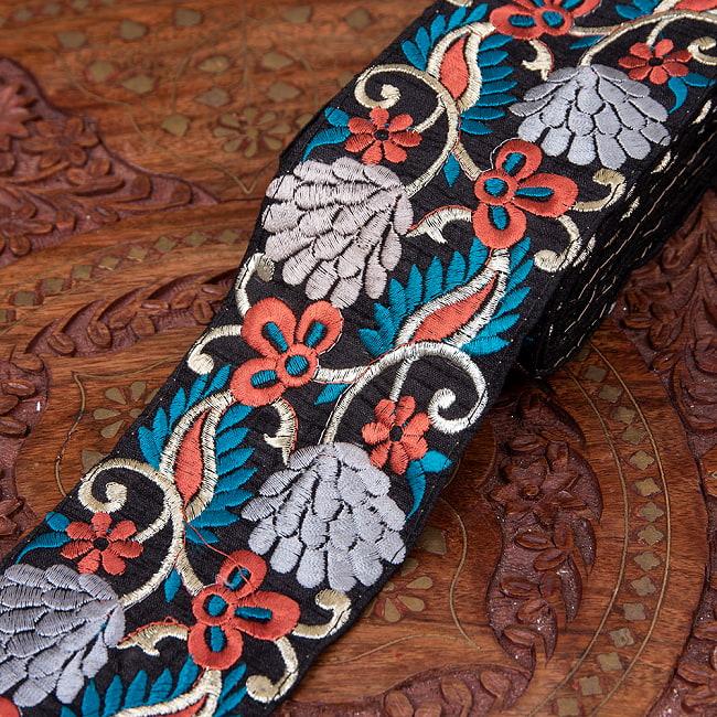 【極太幅7.5cm】 チロリアンテープ-メーター売 - 曼珠沙華 11 - 2:銀花