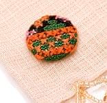 モン族の刺繍ボタン【直径:25mm 3個セット】 - オレンジ・グリーン系