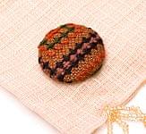 モン族の刺繍ボタン【直径:30mm 3個セット】 - 茶・黄系