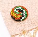 モン族の刺繍ボタン【直径:30mm 3個セット】 - 黄・オレンジ系