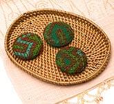 モン族の刺繍ボタン【直径:40mm 3個セット】 - グリーン系