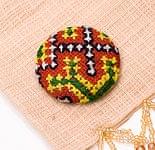 モン族の刺繍ボタン【直径:40mm 3個セット】 - 赤・黄・緑系