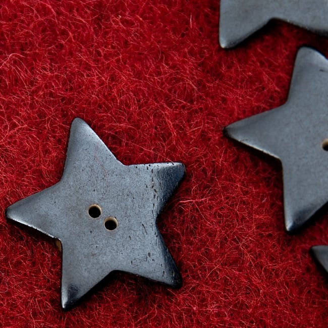 水牛の角ボタン[5個セット] - スター - 約3.5cmの写真