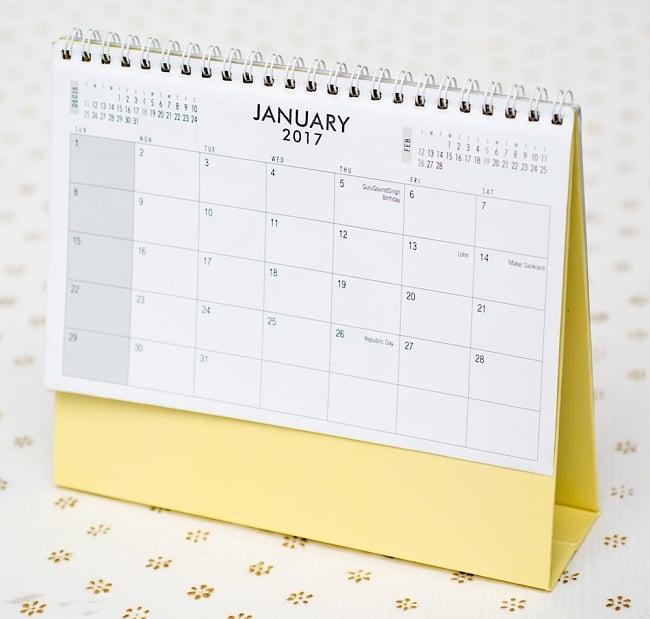 【2017年度版】インドの卓上カレンダー Radha Krishnaの写真5 - 裏面はシンプルです。スケジュールなどを書き込めるようになっています。