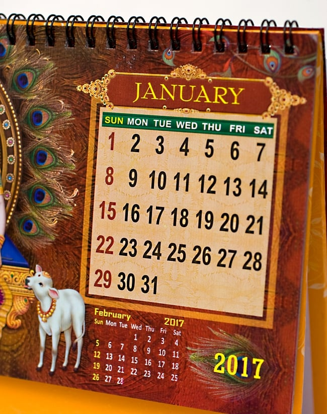 【2017年度版】インドの卓上カレンダー Radhey Krishnaの写真4 - カレンダーをUPしてみました。