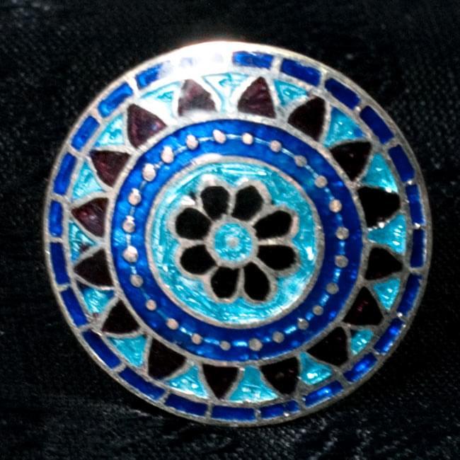 [シルバー925]ムガルのシルバーリング - 青×緑系 9 - 【選択 - E】の写真です。
