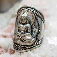 ネパールの手作りシルバーリング - 仏陀 ブッダ