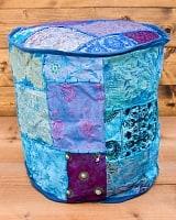 インド・プフ ラジャスタン刺繍布製のパッチワーククッションカバー - 青