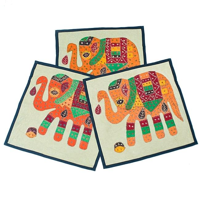 ラジャスタン刺繍のクッションカバー - 象さん【ブラック】 8 - 全て手作りの為、刺繍の形や色が1点1点異なります。世界に1つの可愛いクッションカバーです^^