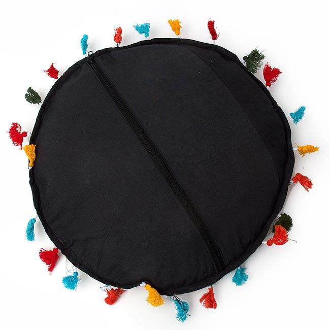 ミラー付き!ラジャスタン刺繍のクッションカバー - 象さん【黒・紺系アソート】 4 - 裏面はこのような感じです