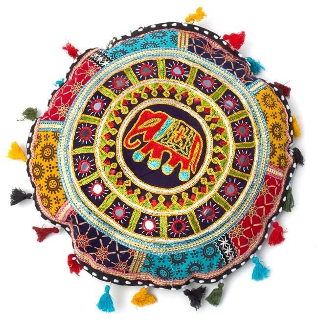 ミラー付き!ラジャスタン刺繍のクッションカバー - 象さん【黒・紺系アソート】の写真