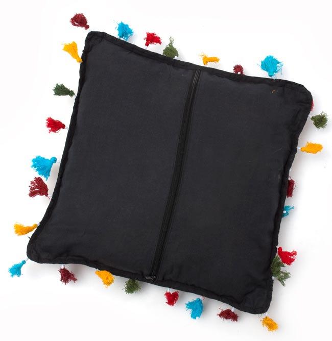 ミラー付き!ラジャスタン刺繍のクッションカバー - 象さん【黒・紺系アソート】の写真4 - 裏面はこのような感じです