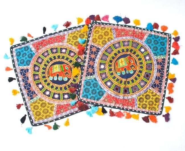 ミラー付き!ラジャスタン刺繍のクッションカバー - 象さん【黒・紺系アソート】の写真6 - アソート例です