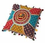 【ミラー付き!・特大】ラジャスタン刺繍の四角いクッションカバー - 象さん【赤茶系】