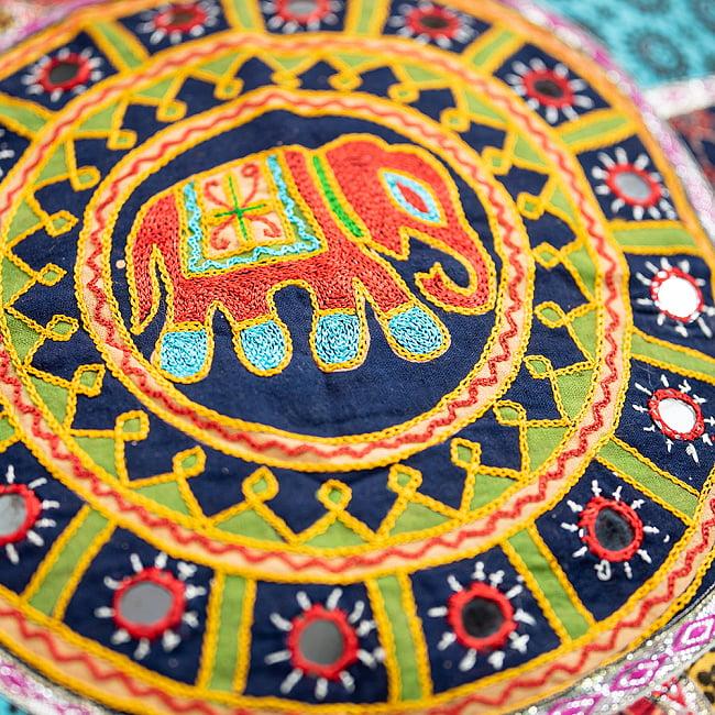 【ミラー付き!・特大】ラジャスタン刺繍の四角いクッションカバー - 象さん【黒系】の写真4 - 裏面はこのような感じです