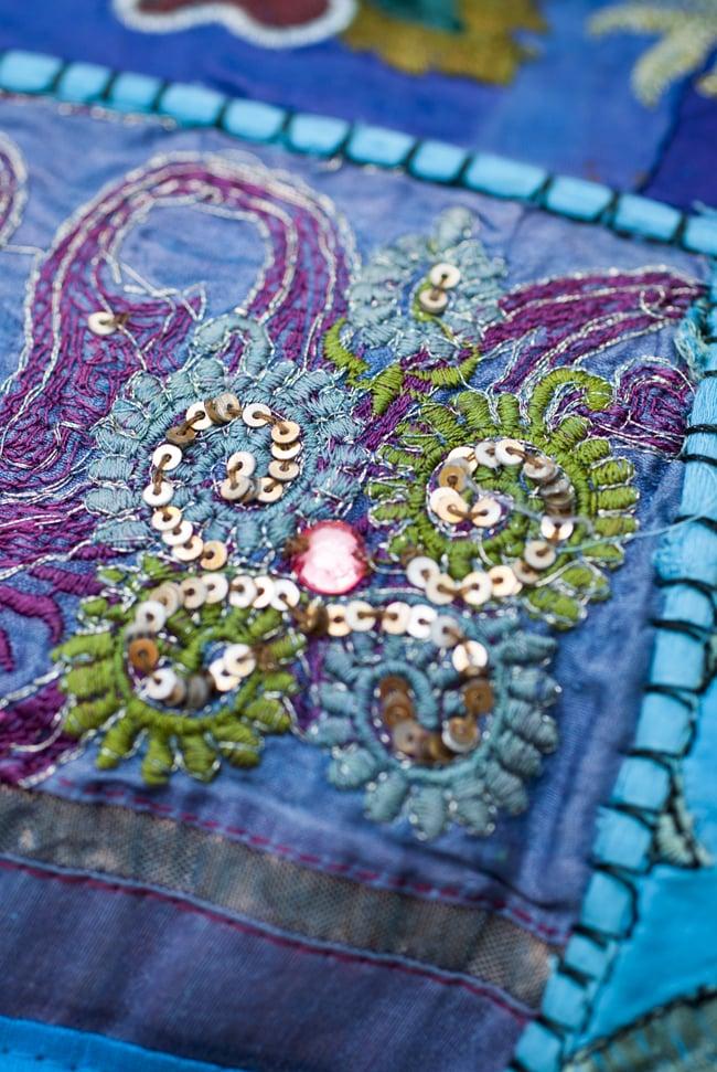 〔アソート〕ラジャスタン刺繍のクッションカバー - 水色 5 - 砂漠地方の細かな手芸です。