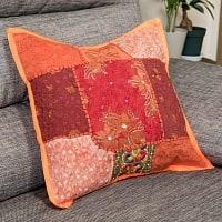 〔アソート〕ラジャスタン刺繍のクッションカバー - オレンジ