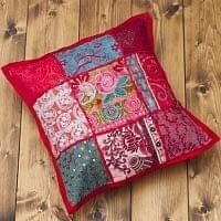 〔アソート〕ラジャスタン刺繍のクッションカバー - 赤
