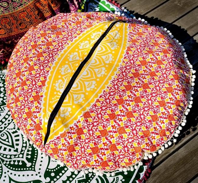特大サイズ!マンダラ丸型クッションカバー【約90cm】 9 - 裏面の写真です
