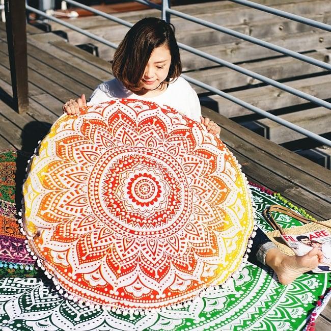 特大サイズ!マンダラ丸型クッションカバー【約90cm】の写真