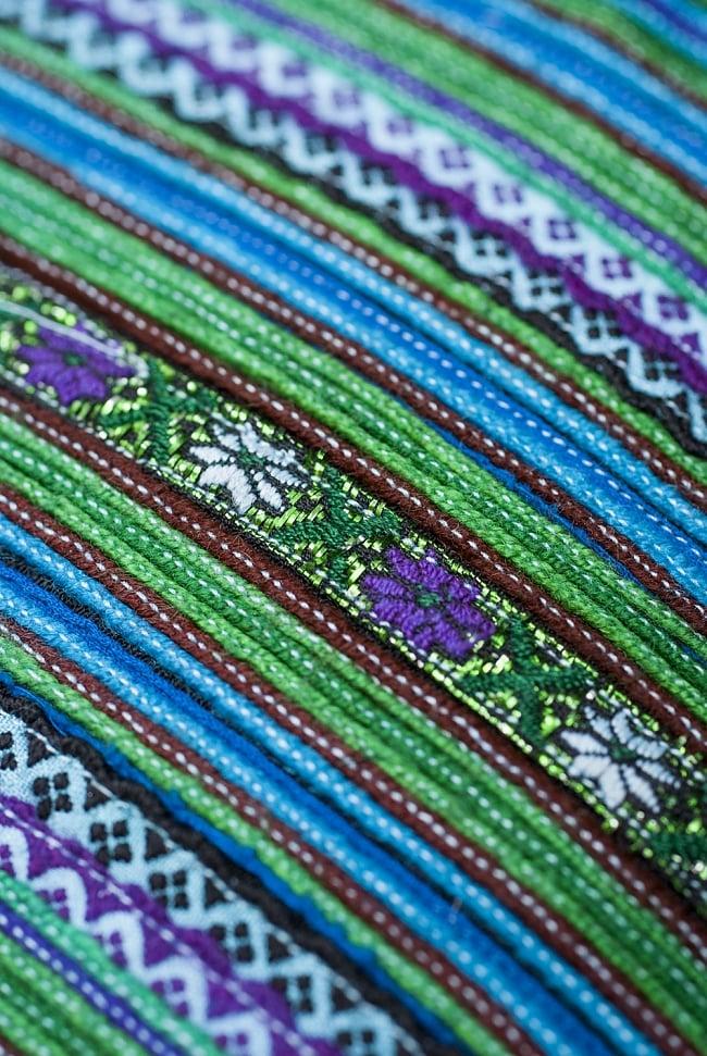 モン族刺繍の高級クッションカバー - 青 [クッション同梱品] 5 - 飽きることのない手工芸の芸術ですね。