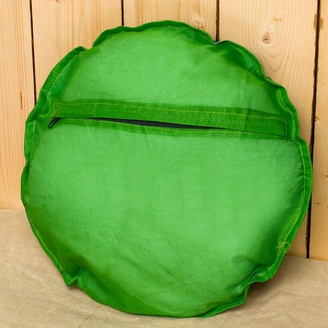 【ラジャスタン刺繍】クッションカバー - 黄緑系アソートの写真5 - 裏側はシンプルです^^