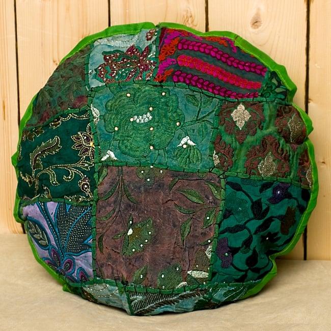 【ラジャスタン刺繍】クッションカバー - 黄緑系アソートの写真