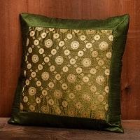 インド伝統柄のクッションカバー グリーン