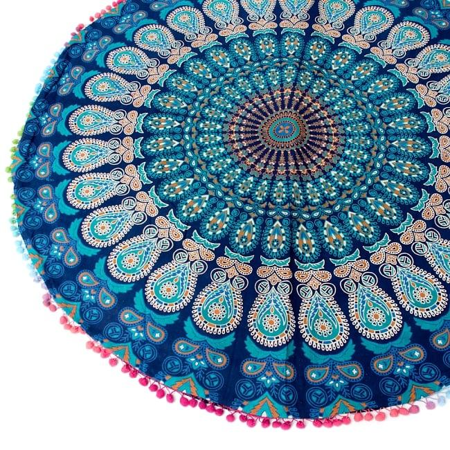 特大サイズ!マンダラ丸型クッションカバー【約105cm】 4 - 綺麗な模様です