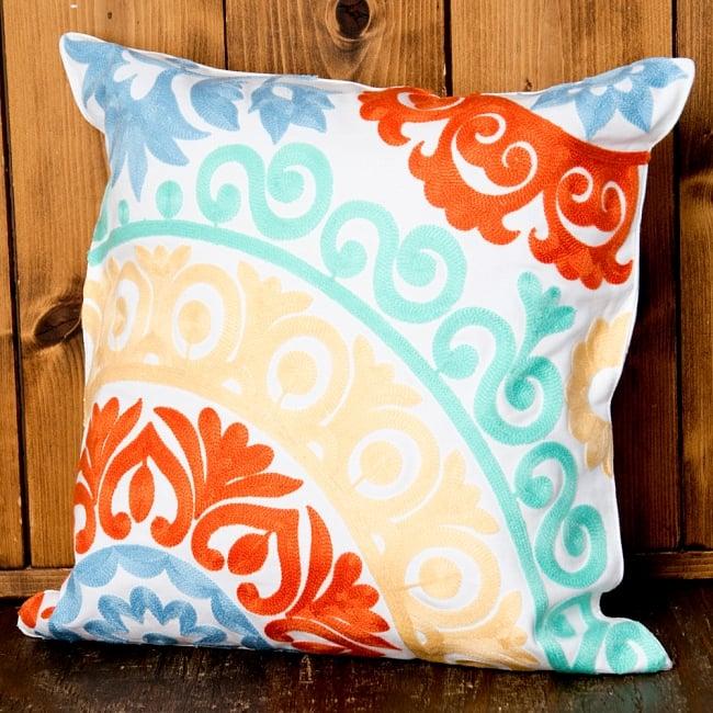 カラフルフラワー刺繍のコットンクッションカバー 11 - 選択6:イエロー・オレンジ