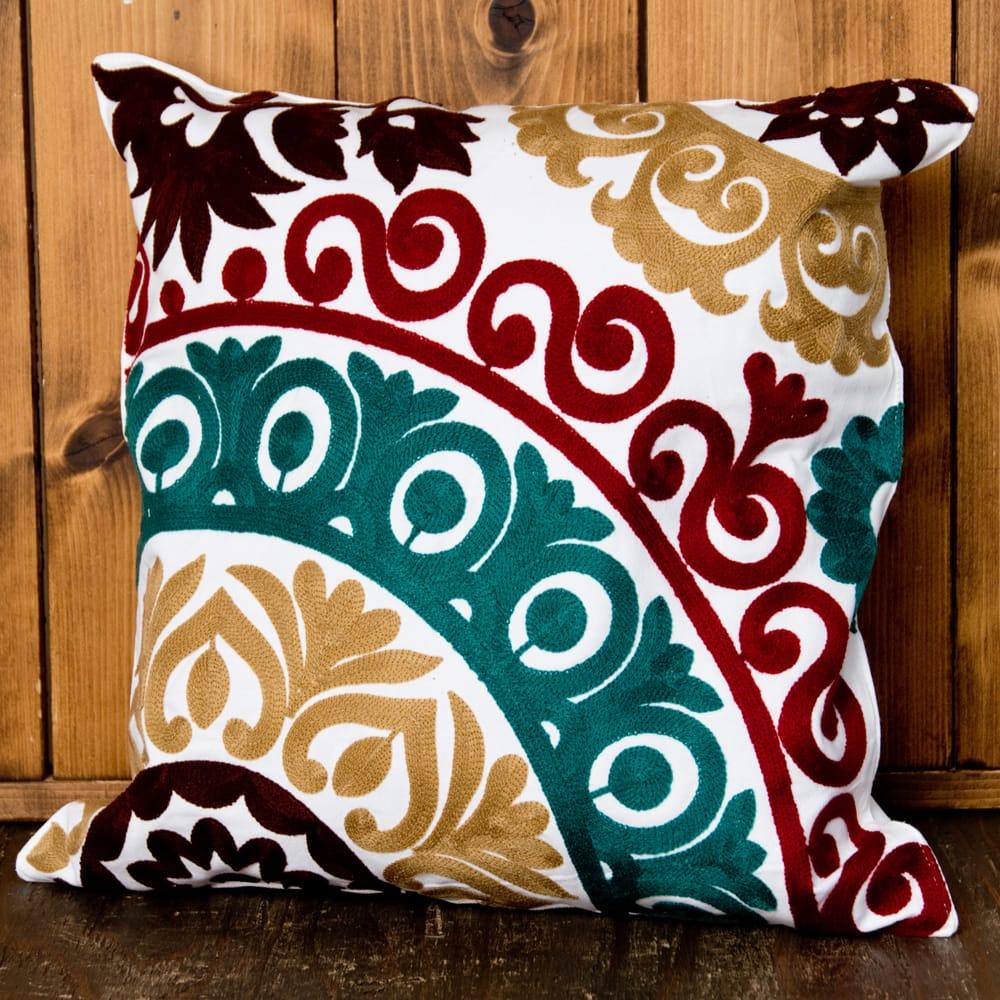 カラフルフラワー刺繍のコットンクッションカバー 7 - 選択2:ブラウン