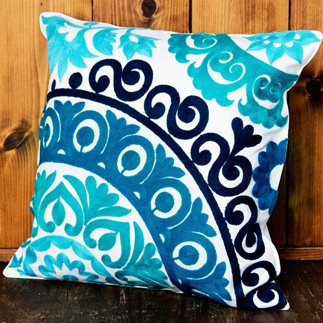 カラフルフラワー刺繍のコットンクッションカバー 8 - 選択3:ブルー