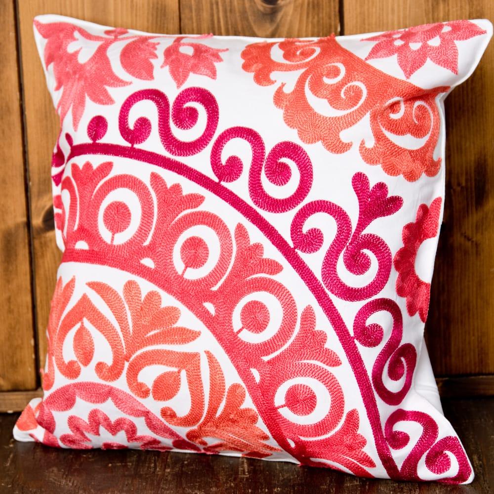 カラフルフラワー刺繍のコットンクッションカバー 9 - 選択4:ピンク